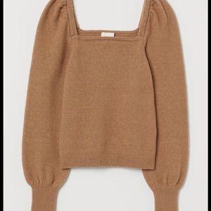 H&M Camel Puff Sleeve Sweater